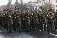 Soldiers of Czech Army are marching on military parade