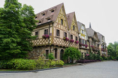 European-style buildings in verdant spring Stock Photo