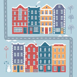 European style colorful cartoon buildings Stock Image