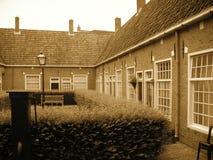 European Style Courtyard. Sepia toned image.  Dutch city of Leeuwarden Stock Photo