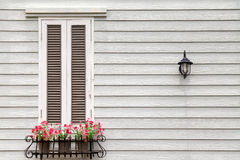 European style window and flower Royalty Free Stock Images