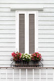 European style window and flower. Old European style window and flower Stock Photo