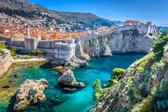 European summer resort in Croatia, Dubrovnik. Aerial view at famous european travel destination in Croatia, Dubrovnik old town Stock Photography