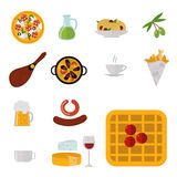 European tasty food cuisine dinner food showing delicious elements flat vector illustration. Stock Images