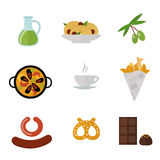 European tasty food cuisine dinner food showing delicious elements flat vector illustration. Royalty Free Stock Photography