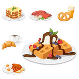 European tasty food cuisine dinner food showing delicious elements flat vector illustration. Stock Image