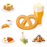 European tasty food cuisine dinner food showing delicious elements flat vector illustration. Royalty Free Stock Images