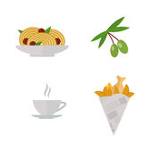 European tasty food olive branch oil dinner food showing delicious flat vector illustration. Royalty Free Stock Images