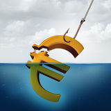 European Tax. Concept and lower returns business idea as a three dimensional Euro currency sign in the water with a fishing hook pulling a portion of the Royalty Free Stock Image