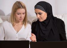 European teaching arabic computer skills Royalty Free Stock Photos