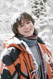 European teens boy in scarf. Are laughing outdoors in winter (series Sport, Extreme, Mountains, Horses and Teenagers Stock Photo