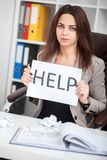 European tired and frustrated woman working as secretary in stre Royalty Free Stock Photography