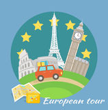 European Tour. European traveling tour, touristic banner. Composition with famous european world landmarks icons. Car around Europe. Can be used for web banners royalty free illustration