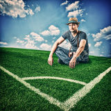 European tourist a football fan with a camera Royalty Free Stock Images