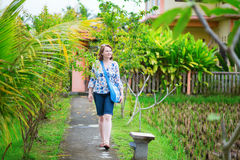 European tourist walking in Ubud, Bali Stock Photos