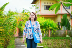 European tourist walking in Ubud, Bali Stock Photography