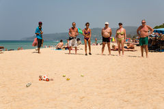 European tourists are playing the game boules Stock Images