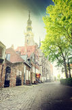 European town street with cobblestone pavement Royalty Free Stock Image