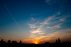 European town sunset. Sunset in a generic european town with church stock photos