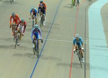 European Track Championships. Cyclists during the first edition of European Track Championships for elite riders at the velodrome in Pruszkow. The event was been Stock Photography