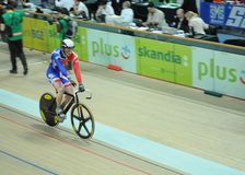 European Track Championships. Cyclist during the first edition of European Track Championships for elite riders at the velodrome in Pruszkow. The event was been Royalty Free Stock Images