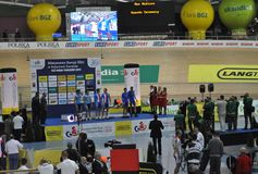 European Track Championships. Award ceremony of winners during the first edition of European Track Championships for elite riders at the velodrome in Pruszkow Stock Photography