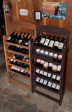 European traditional shelves with wine bottles Royalty Free Stock Photography