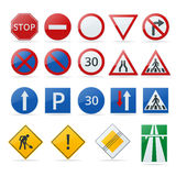 European traffic signs collection. Signs of danger. Mandatory signs. Signs of obligations. Signs of alerts. Stock Photos