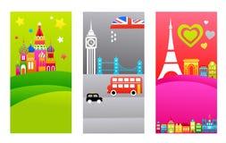 European travel destinations stock illustration