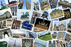 European travel destinations. Collage of many photographs of cities and travel destinations in Europe stock image