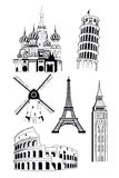European travel destinations in ink style stock illustration