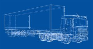 European truck outlined vector Stock Images