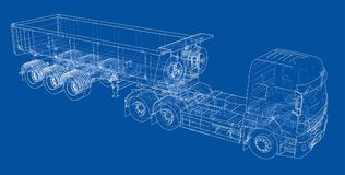 European truck outlined vector Royalty Free Stock Photo