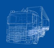 European truck outlined vector Stock Photo