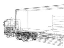 European truck outlined vector Stock Photography