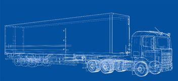 European truck outlined vector Stock Image