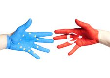 European and turkey hands Stock Images