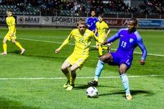 European Under-21 Chamionship match Ukraine - Netherlands. Kyiv, Ukraine - October 10, 2017: Gervane Kastaneer in action against Valeriy Luchkevych. European Stock Photos