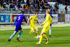 European Under-21 Chamionship match Ukraine - Netherlands. Stock Photo