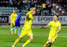 European Under-21 Chamionship match Ukraine - Netherlands. Kyiv, Ukraine - October 10, 2017: Viktor Kovalenko and Maksym Lunov celebrates scoring goal. European Stock Photography