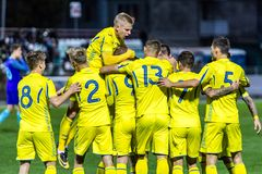 European Under-21 Chamionship match Ukraine - Netherlands. Kyiv, Ukraine - October 10, 2017: Ukraine national team celebrates scored goal . European Under-21 Royalty Free Stock Images