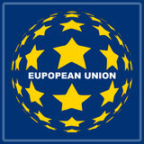 European Union. Emblem with spherical stars and white inscription over blue background Stock Image