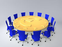 European Union. Chairs stand around a table in the form of coin Stock Images