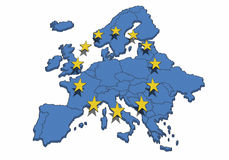 European Union. Map of the Europe with blue color and yellow stars. Symbol for the European Union Royalty Free Stock Image