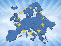 European Union. Map of the Europe with blue color and yellow stars. Symbol for the European Union vector illustration