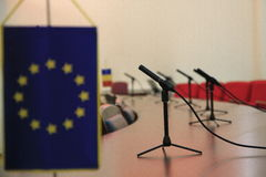 European Union. Flags on a conference room royalty free stock photo