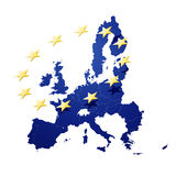 European union. Illustration of a map of European union and EU flag illustration Royalty Free Stock Photo
