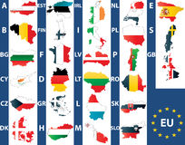 European Union. Vector of maps of the 27 members of the European Union with national maps Stock Photography