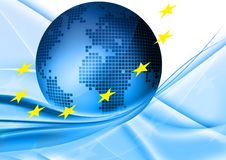 European union. Blue globe with european stars Royalty Free Stock Images