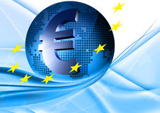 European union. Blue globe with European stars and euro sign Stock Image